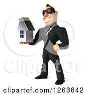 Clipart Of A 3d White Businessman Wearing Sunglasses And Holding Out A Silver House Royalty Free Vector Illustration