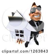 Clipart Of A 3d White Businessman Wearing Sunglasses And Holding Up A Silver House Royalty Free Vector Illustration