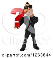 Clipart Of A 3d White Businessman Wearing Sunglasses And Holding Out A Question Mark Royalty Free Vector Illustration