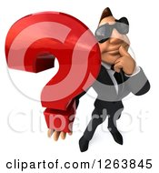 Clipart Of A 3d White Businessman Wearing Sunglasses And Holding Up A Question Mark Royalty Free Vector Illustration
