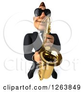 Clipart Of A 3d Formal White Male Musician Wearing Sunglasses And Playing A Saxophone Royalty Free Vector Illustration