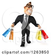 Clipart Of A 3d Bespectacled White Businessman Carrying Shopping Bags Royalty Free Vector Illustration