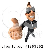 Clipart Of A 3d White Businessman Wearing Sunglasses And Holding A Thumb Up Royalty Free Vector Illustration
