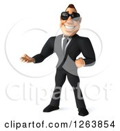 Clipart Of A 3d White Businessman Wearing Sunglasses And Presenting Royalty Free Vector Illustration