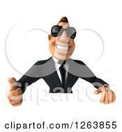 Clipart Of A 3d White Businessman Wearing Sunglasses And Holding A Thumb Up Over A Sign Royalty Free Vector Illustration
