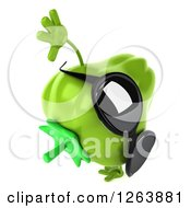 Clipart Of A 3d Green Bell Pepper Wearing Sunglasses And Cartwheeling Royalty Free Vector Illustration by Julos
