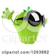 Clipart Of A 3d Green Bell Pepper Wearing Sunglasses And Jumping Royalty Free Vector Illustration by Julos