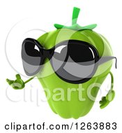 Clipart Of A 3d Green Bell Pepper Wearing Sunglasses And Presenting Royalty Free Vector Illustration by Julos