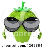 Clipart Of A 3d Green Bell Pepper Wearing Sunglasses Royalty Free Vector Illustration by Julos
