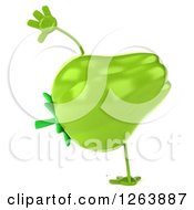 Clipart Of A 3d Green Bell Pepper Character Cartwheeling Royalty Free Vector Illustration by Julos