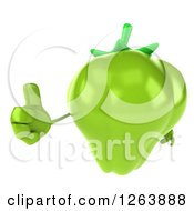 Clipart Of A 3d Green Bell Pepper Character Holding A Thumb Up Royalty Free Vector Illustration