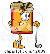 Clipart Picture Of A Price Tag Mascot Cartoon Character Leaning On A Golf Club While Golfing by Toons4Biz