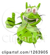 Clipart Of A 3d Green Germ Giving A Thumb Up Royalty Free Illustration