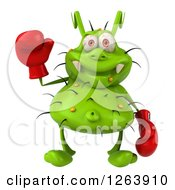 Clipart Of A 3d Green Germ Waving And Wearing Boxing Gloves Royalty Free Illustration
