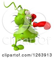 Clipart Of A 3d Green Germ Fighter Wearing Boxing Gloves Royalty Free Illustration