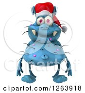 Clipart Of A 3d Blue Christmas Germ Royalty Free Vector Illustration