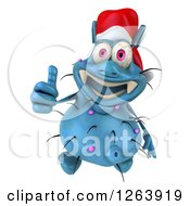 Clipart Of A 3d Blue Christmas Germ Holding A Thumb Up Royalty Free Vector Illustration