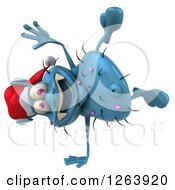 Clipart Of A 3d Blue Christmas Germ Cartwheeling Royalty Free Vector Illustration