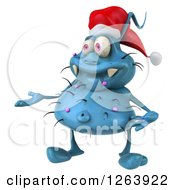Clipart Of A 3d Blue Christmas Germ Presenting Royalty Free Vector Illustration