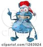 Clipart Of A 3d Blue Christmas Germ With An Idea Royalty Free Vector Illustration