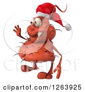 Clipart Of A 3d Red Christmas Germ Waving Royalty Free Vector Illustration
