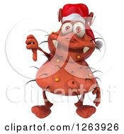 Clipart Of A 3d Red Christmas Germ Holding A Thumb Down Royalty Free Vector Illustration