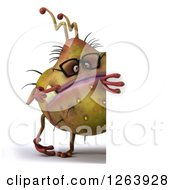 Clipart Of A 3d Bespectacled Germ Monster Pointing Around A Sign Royalty Free Vector Illustration