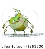 Clipart Of A 3d Green Germ Monster Surfing Royalty Free Vector Illustration