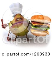 Clipart Of A 3d Germ Chef Monster Holding A Double Cheeseburger And Holding A Thumb Up Royalty Free Vector Illustration