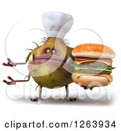 Clipart Of A 3d Germ Chef Monster Holding A Double Cheeseburger And Presenting Royalty Free Vector Illustration