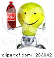 Clipart Of A 3d Yellow Light Bulb Character Holding A Soda Bottle And Thumb Up Royalty Free Vector Illustration
