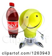 Clipart Of A 3d Yellow Light Bulb Character Holding A Soda Bottle Royalty Free Vector Illustration