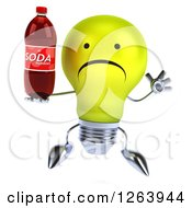 Clipart Of A 3d Yellow Light Bulb Character Jumping And Holding A Soda Bottle Royalty Free Vector Illustration