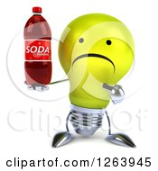 Clipart Of A 3d Unhappy Yellow Light Bulb Character Holding A Soda Bottle Royalty Free Vector Illustration