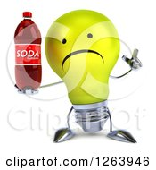 Clipart Of A 3d Unhappy Talking Yellow Light Bulb Character Holding A Soda Bottle Royalty Free Vector Illustration