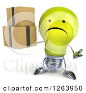 Clipart Of A 3d Unhappy Yellow Light Bulb Character Holding Boxes Royalty Free Vector Illustration