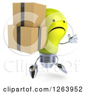 Clipart Of A 3d Unhappy Yellow Light Bulb Character Jumping And Holding Boxes Royalty Free Vector Illustration