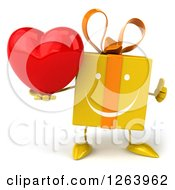 Clipart Of A 3d Happy Yellow Gift Chacter Holding A Heart And Thumb Up Royalty Free Illustration