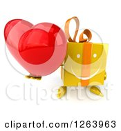 Clipart Of A 3d Happy Yellow Gift Chacter Holding A Heart Royalty Free Illustration