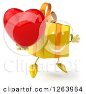 Clipart Of A 3d Happy Jumping Yellow Gift Chacter Holding A Heart Royalty Free Illustration