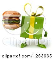 Clipart Of A 3d Happy Green Gift Chacter Holding A Double Cheeseburger Royalty Free Illustration