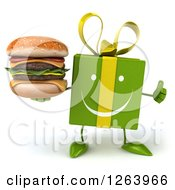 Clipart Of A 3d Happy Green Gift Chacter Holding A Double Cheeseburger And Thumb Up Royalty Free Illustration