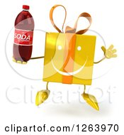 Clipart Of A 3d Happy Yellow Gift Chacter Jumping And Holding A Soda Royalty Free Illustration
