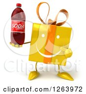 Clipart Of A 3d Happy Yellow Gift Chacter Holding A Soda Royalty Free Illustration