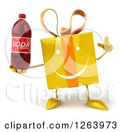 Clipart Of A 3d Happy Yellow Gift Chacter With An Idea Holding A Soda Royalty Free Illustration