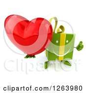 Clipart Of A 3d Green Gift Character Holding A Red Heart And Thumb Up Royalty Free Vector Illustration