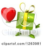 Clipart Of A 3d Green Gift Character Holding A Red Heart Royalty Free Vector Illustration