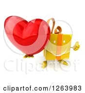Clipart Of A 3d Yellow Gift Character Holding A Heart And Thumb Up Royalty Free Vector Illustration