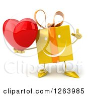 Clipart Of A 3d Yellow Gift Character Holding A Heart Royalty Free Vector Illustration