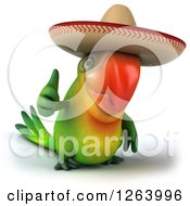 Clipart Of A 3d Green Parrot Wearing A Mexican Sombrero And Holding A Thumb Up Royalty Free Vector Illustration